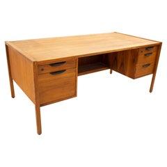 Jens Risom Mid Century 5 Drawer Walnut Executive Desk