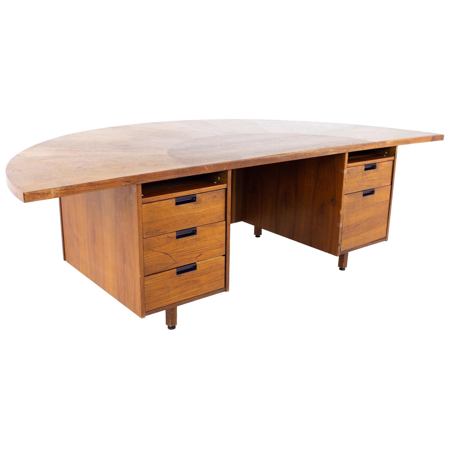 Jens Risom Mid Century Half Round Executive Desk