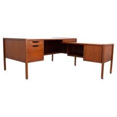 Jens Risom Mid Century L Shaped Walnut Executive Desk