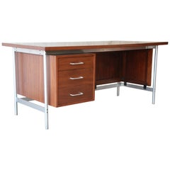 Jens Risom Mid-Century Modern Executive Desk in Walnut, Cane, and Steel