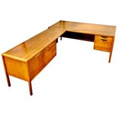 Jens Risom Mid-Century Modern Large Walnut 2-Pc Executive Desk