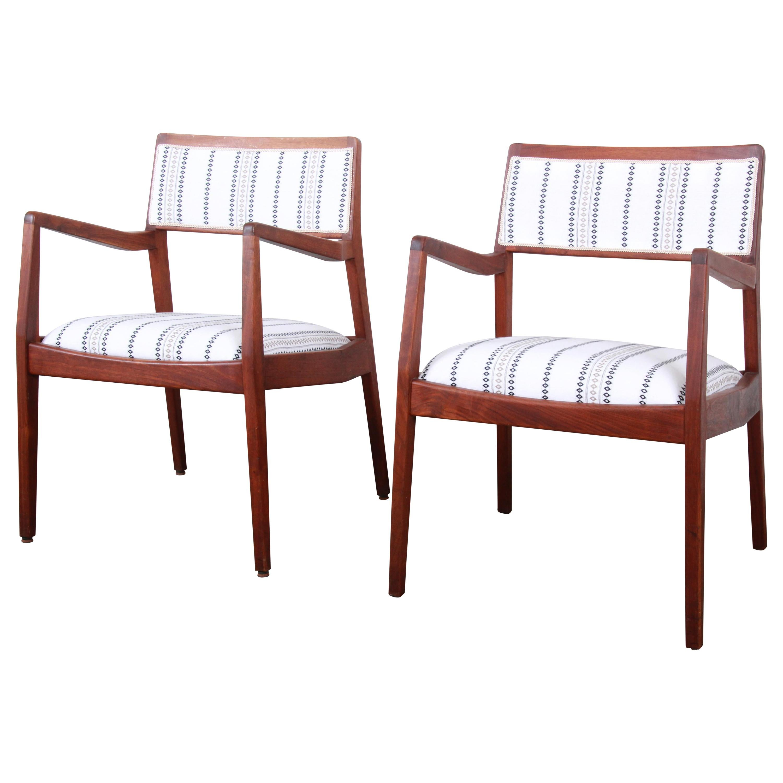 Jens Risom Mid-Century Modern Sculpted Walnut Playboy Lounge Chairs