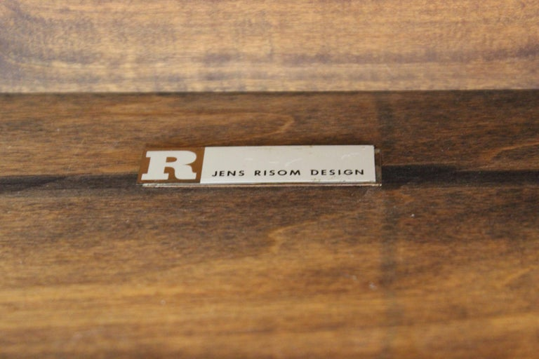 Jens Risom Mid-Century Modern Walnut and Leather Coffee Table For Sale 12