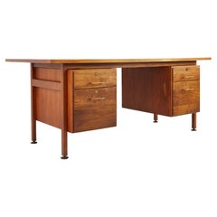 Jens Risom Mid Century Walnut and Brass Desk