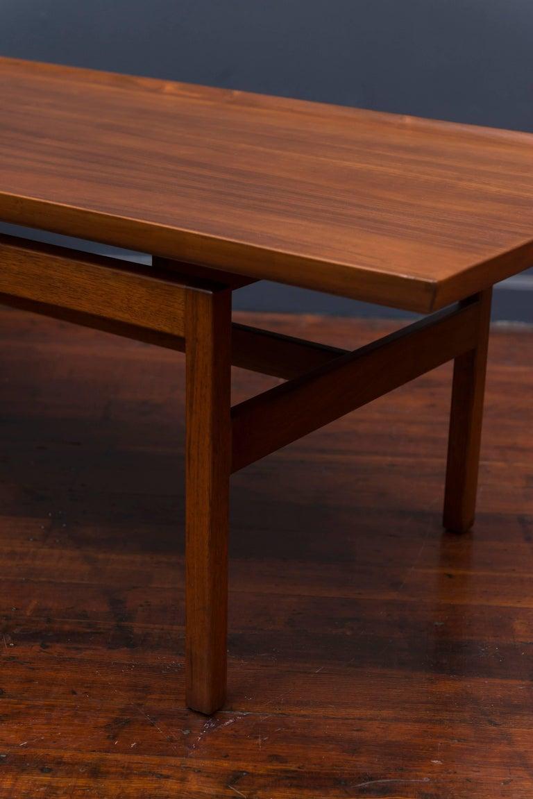 Mid-20th Century Jens Risom Mid Century Walnut Coffee Table For Sale