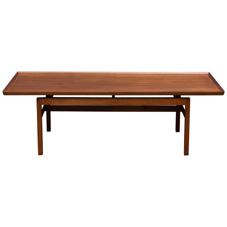 Jens Risom Mid Century Walnut Coffee Table For Sale