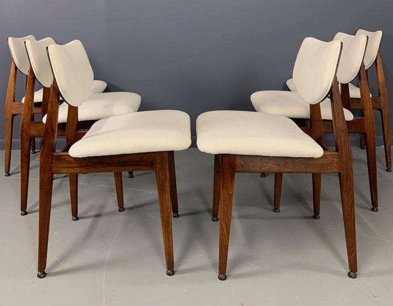 Jens Risom Midcentury Walnut Dining Chairs, a Set of Six For Sale 5