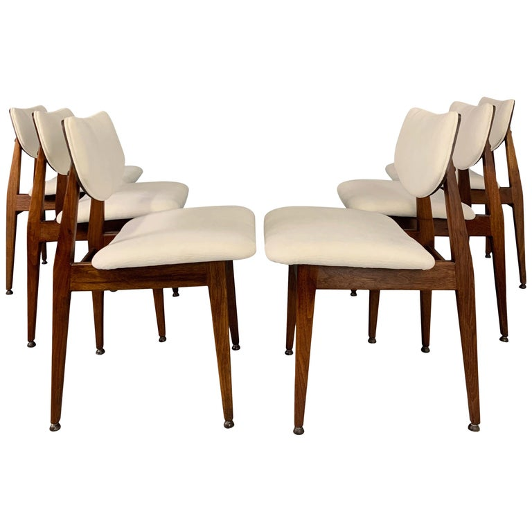 Jens Risom Midcentury Walnut Dining Chairs, a Set of Six For Sale