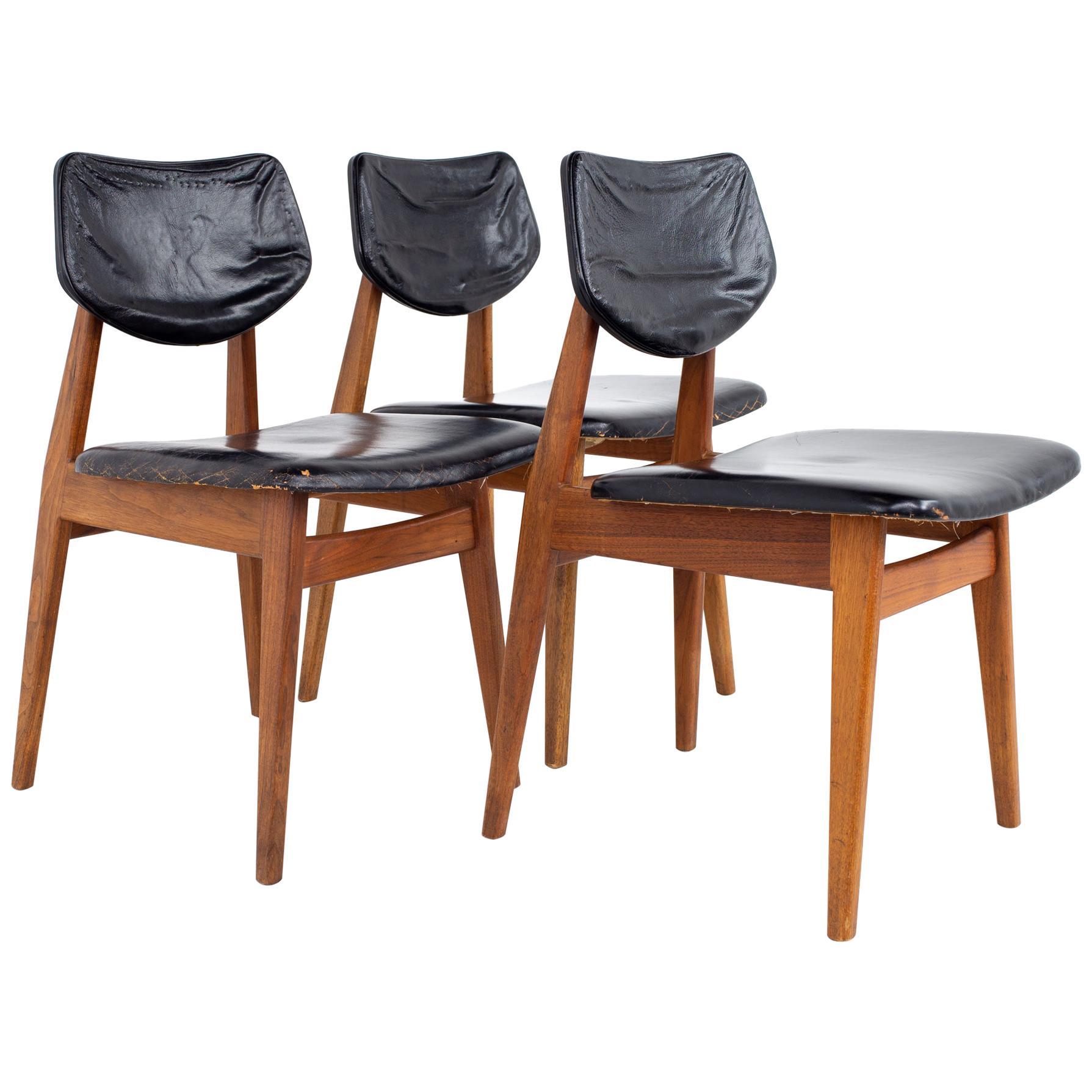 Jens Risom Mid Century Walnut Dining Chairs, Set of 3