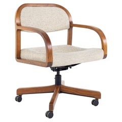 Jens Risom Mid Century Walnut Rolling Office Desk Chair