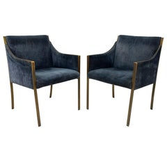 Jens Risom Mid Century Bronze Occasional Chairs, Pair