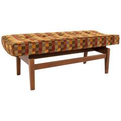 Jens Risom Midcentury Upholstered Walnut Bench