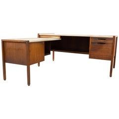 Jens Risom Midcentury Walnut and White Leather Executive Desk
