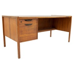 Jens Risom Midcentury Walnut Single Sided 2-Drawer Desk