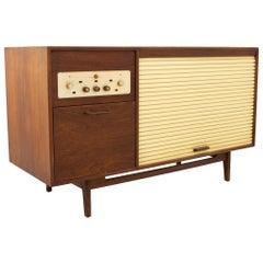 Jens Risom Midcentury Walnut Tambour Door Stereo Console Credenza