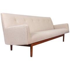 Jens Risom Midcentury Walnut Tufted Ivory Sofa