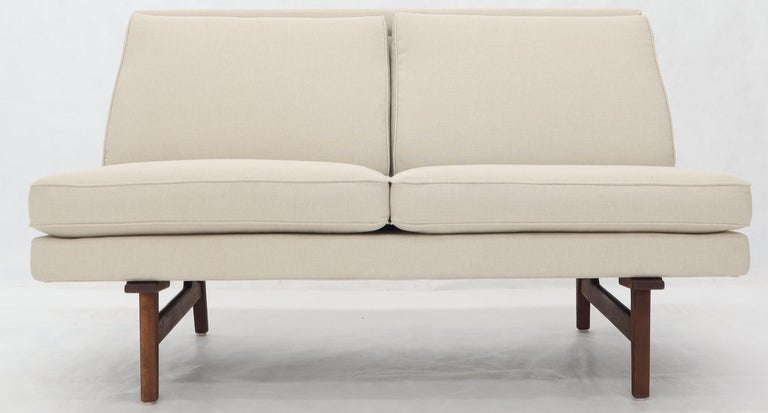 Mid-Century Modern Jens Risom New Canval like Upholstery Loveseat Sofa by Jens Risom For Sale