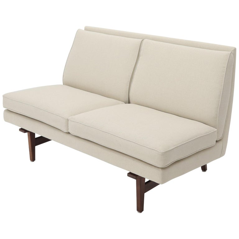 Jens Risom New Canval like Upholstery Loveseat Sofa by Jens Risom For Sale