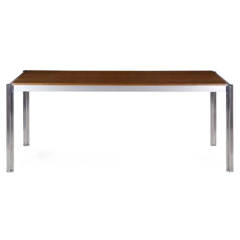 Jens Risom Oak and Polished Aluminium Dining Table with Shamrock Legs