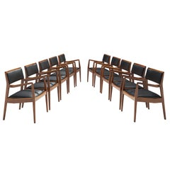 Jens Risom 'Playboy' Armchairs in Walnut and Black Leather
