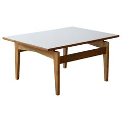 Jens Risom Rectangular Side Table with Walnut Base and White Laminate Top
