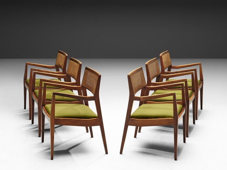 Jens Risom, 'Playboy' armchairs, cane, fabric, walnut, United States, design 1958, production 1960s  These