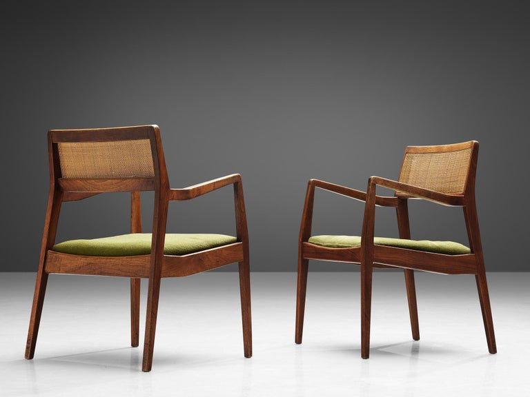 American Jens Risom Set of Six 'Playboy' Dining Chairs in Walnut For Sale