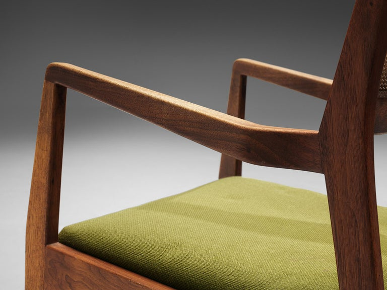 Mid-20th Century Jens Risom Set of Six 'Playboy' Dining Chairs in Walnut For Sale