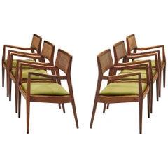 Jens Risom Set of Six 'Playboy' Dining Chairs in Walnut