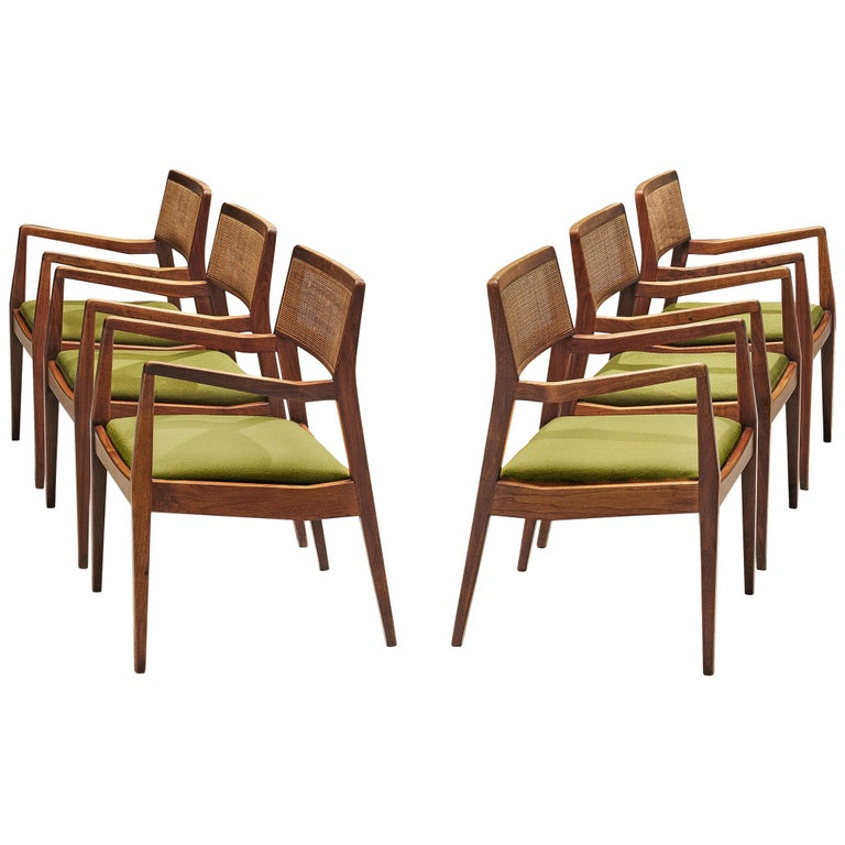 Jens Risom Set of Six 'Playboy' Dining Chairs in Walnut For Sale