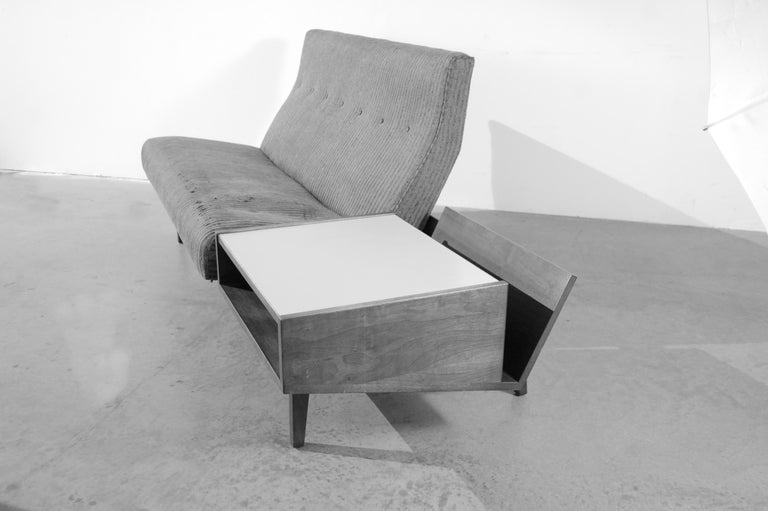 Fabric Jens Risom Sofa with Built in Storage Table For Sale