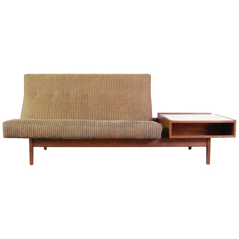 Jens Risom Sofa with Built in Storage Table For Sale