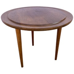 Jens Risom Solid Walnut Round Side Table