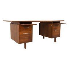Jens Risom Style B. L. Marble Furniture Company Midcentury Walnut Floating Top