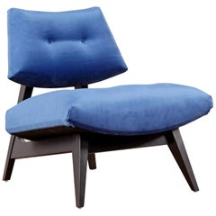 Jens Risom Style Blue Velvet Slipper Chair, New Upholstery