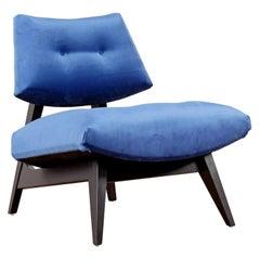 Jens Risom Style Blue Velvet Slipper Chair, New Upholstery
