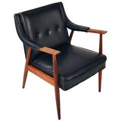 Jens Risom Style Danish Midcentury Teak Lounge Chair