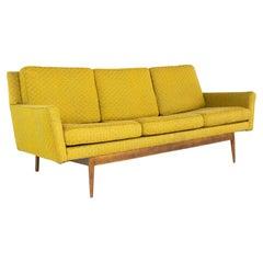 Jens Risom Style Mid Century Walnut Bracket Back 4 Seater Sofa