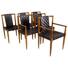 Jens Risom Style Tomlinson MCM Walnut and Leather Strap Dining Chairs - Set of 6