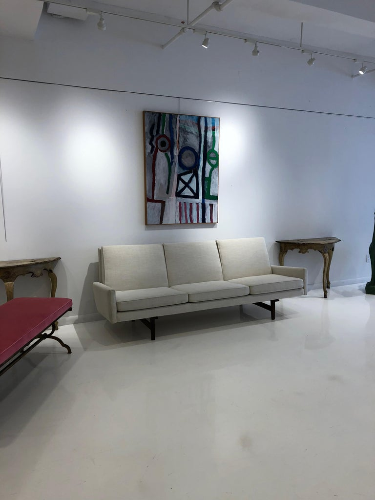 American Jens Risom Vintage Sofa with Sculpted Walnut Frame For Sale