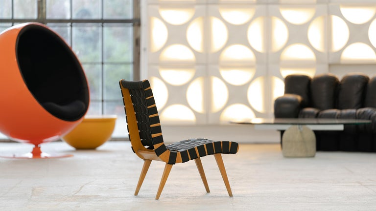 Jens Risom for Walter Knoll - Easychair Vostra, 1941  Design from 1941 - model of the 50s, beech frame. This Easychair comes from the private property of an art dealer in Cologne, Germany.  The wickerwork was once renewed true to the original.