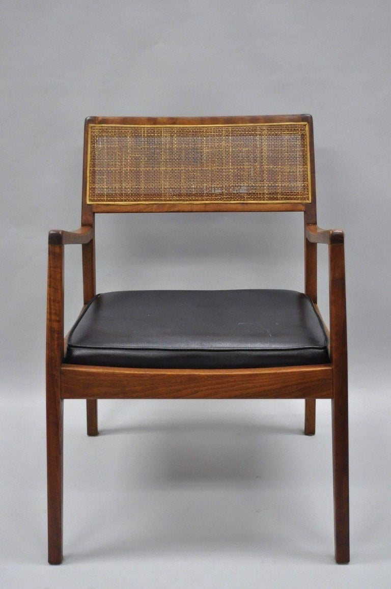 Jens Risom Walnut And Cane Back Dining Chairs Mid Century