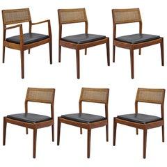 Jens Risom Walnut & Cane Back Dining Chairs Mid-Century Modern, Set of Six