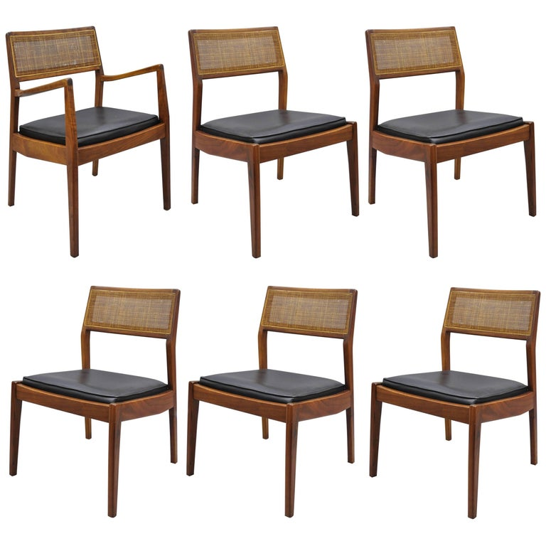 Cane Dining Room Chairs: Jens Risom Walnut And Cane Back Dining Chairs Mid-Century