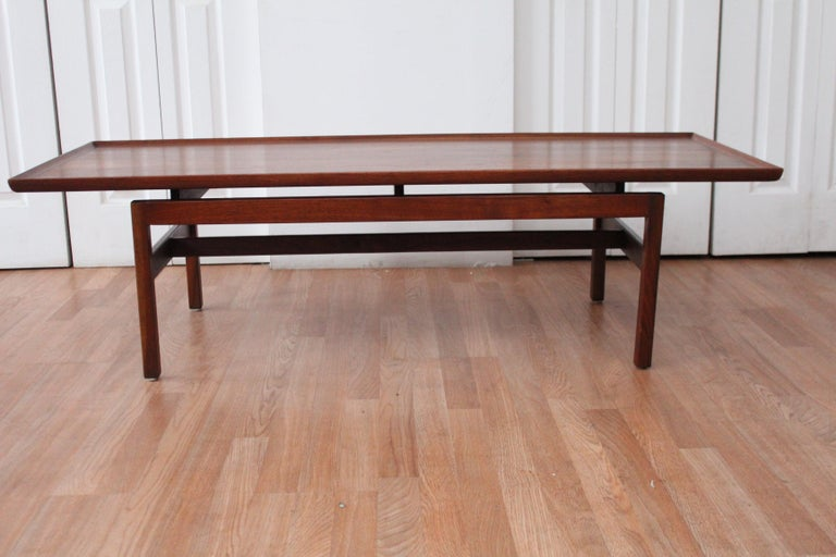 Jens Risom floating top coffee table. Original finish. Beautiful condition.