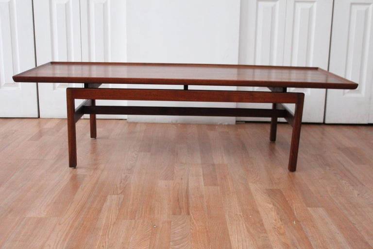 Mid-Century Modern Jens Risom Walnut Coffee Table For Sale