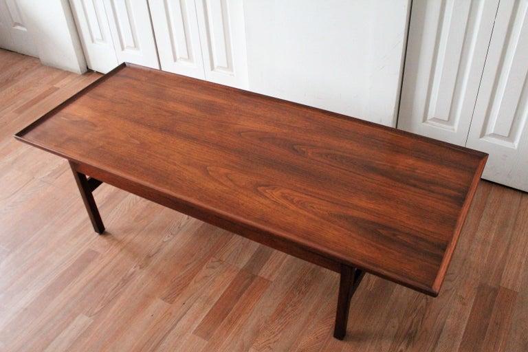 American Jens Risom Walnut Coffee Table For Sale