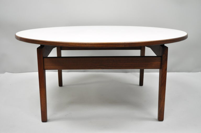 Jens Risom Walnut Round Floating Coffee Table White Laminate Top