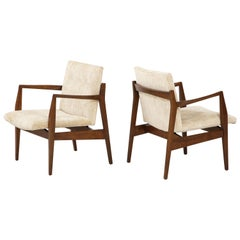 Jens Risom Walnut Sculptural Lounge Chairs