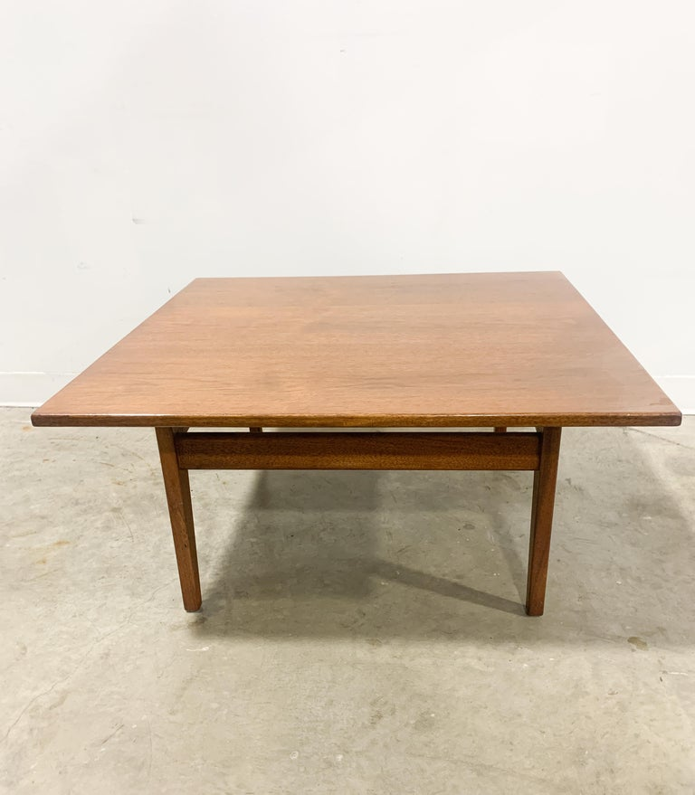 20th Century Jens Risom Walnut Square Coffee Table For Sale